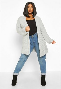 Womens Grey Plus Cable Trim Oversized Cardigan
