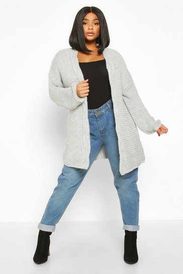 Womens Grey Plus Cable Knit Chunky Cardigan