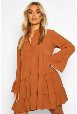 Rust Plus Tiered Longsleeve Smco Dress