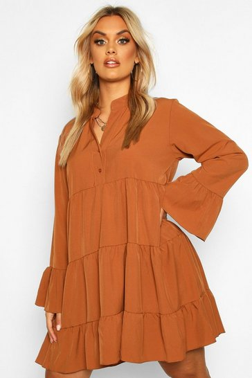 Womens Rust Plus Tiered Longsleeve Smco Dress