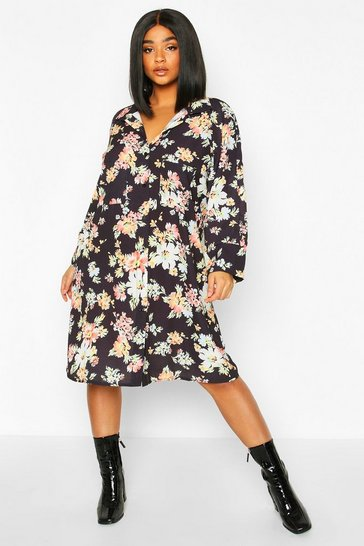 Womens Black Plus Dark Floral Shirt Dress