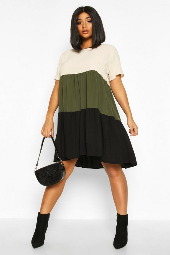 Khaki Plus Colourblock Tiered Smock Dress