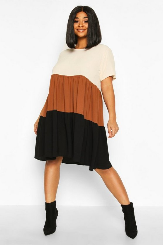 Rust Plus Colourblock Tiered Smock Dress