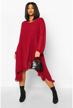 Berry Plus Ruffle Dip Hem Longsleeve Smock Dress