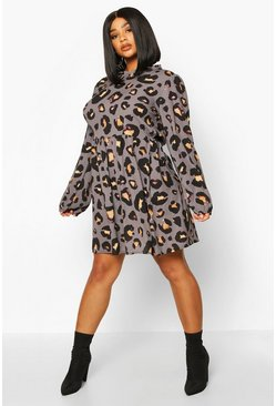 Grey Plus Leopard Print High Ruffle Neck Smock