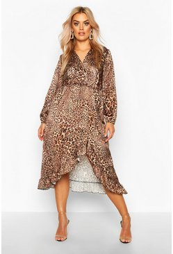 Brown Plus Leopard Print Wrap Longsleeve Midaxi Dress