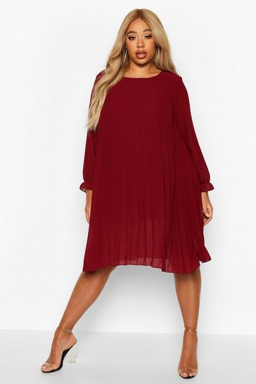 Berry Plus Pleated Swing Dress