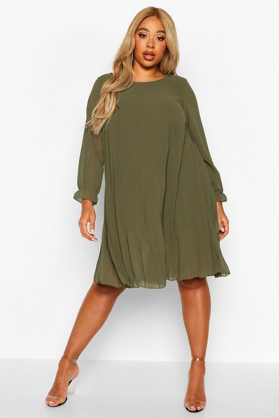 Khaki Plus Pleated Swing Dress
