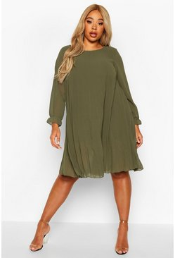 Womens Khaki Plus Pleated Swing Dress