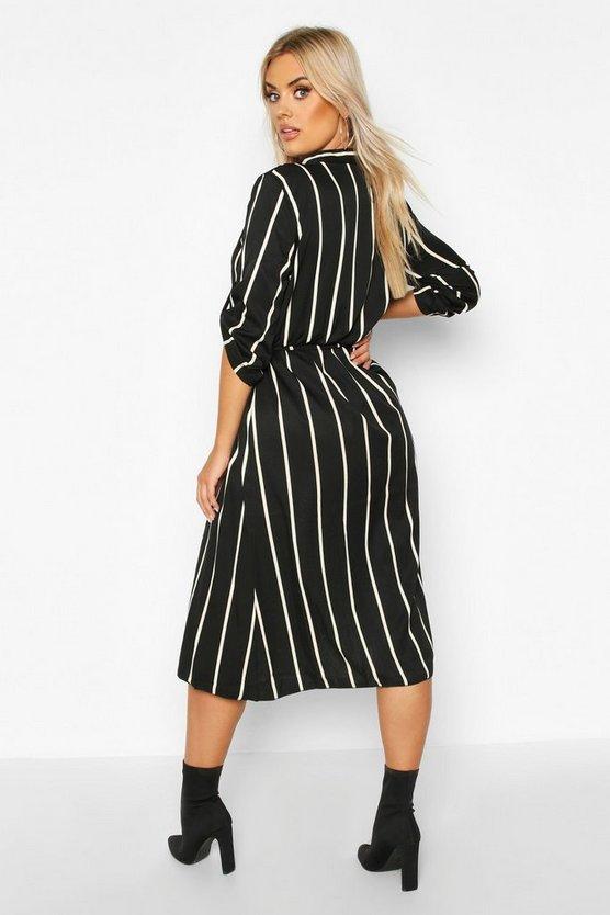 Plus Stripe Midi Shirt Dress
