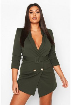 Womens Khaki Plus Double Breasted Gold Button Blazer Dress