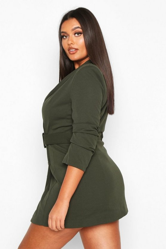 Plus Double Breasted Gold Button Blazer Dress
