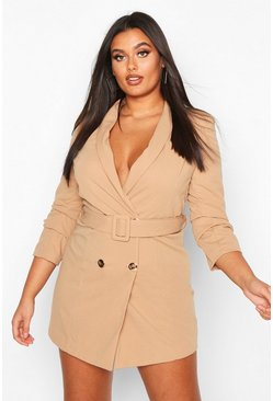 Stone Plus Double Breasted Gold Button Blazer Dress