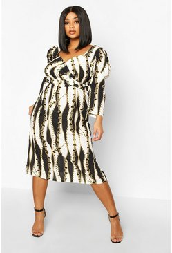 White Pluys Chain Print Wrap Puff Sleeve Midi Dress