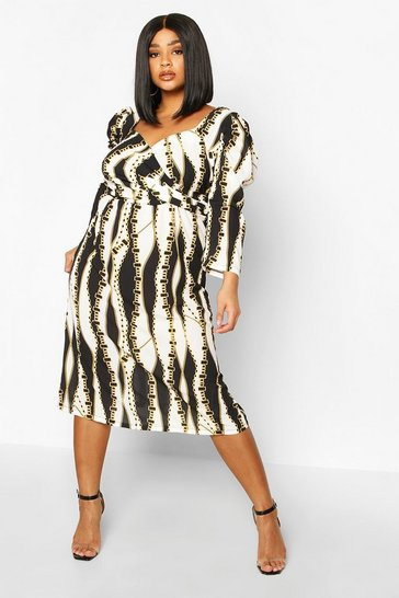 White Plus Chain Print Wrap Puff Sleeve Midi Dress