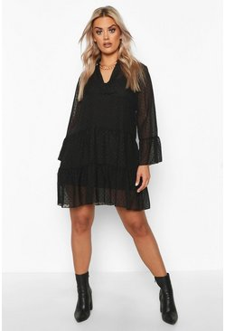 Womens Black Plus Dobby Mesh 2 in 1 Smock Dress