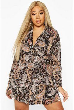 Black Plus Paisley Print Shirt Smock Dress