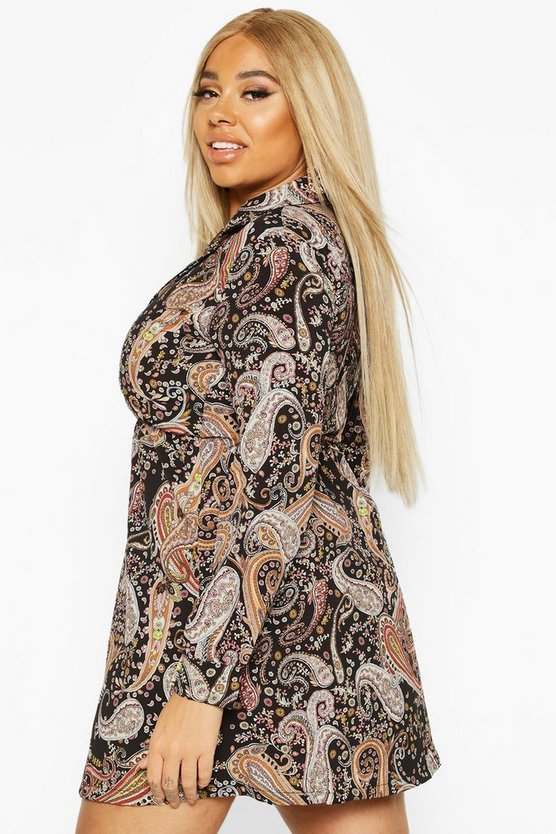 Plus Paisley Print Shirt Smock Dress