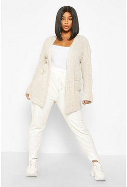 Stone Plus Pocket Front Slouchy Cardigan