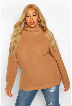 Womens Biscuit Plus Roll Neck Knitted Jumper