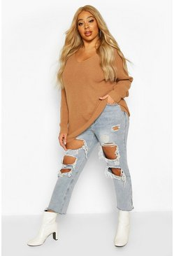 Womens Biscuit Plus Oversized V-Neck Jumper