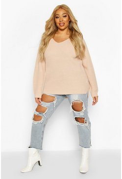 Womens Blush Plus Oversized V-Neck Jumper