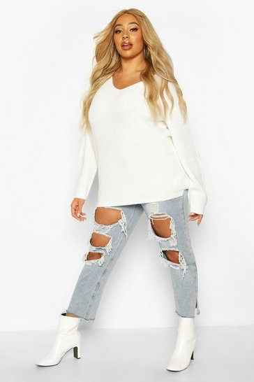 Cream Plus Oversized V-Neck Jumper