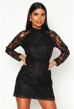 Black Petite Lace High Neck Bodycon Dress