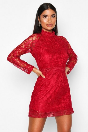 Red Petite Lace High Neck Bodycon Dress