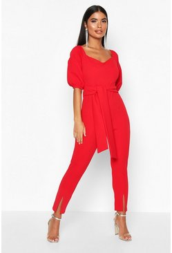 Womens Red Petite Puff Sleeve Tie Waist Jumpsuit