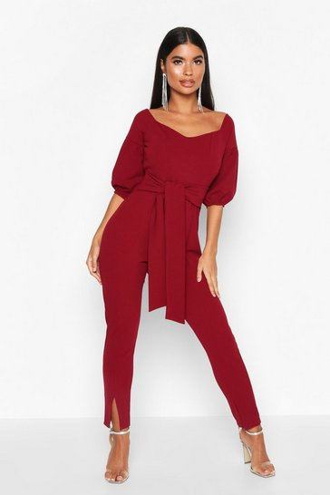 Womens Wine Petite Puff Sleeve Tie Waist Jumpsuit