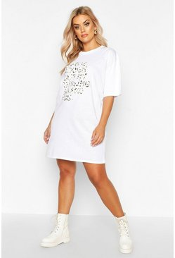 Robe T-shirt oversize Life Is Tough Plus, Blanc, Femme