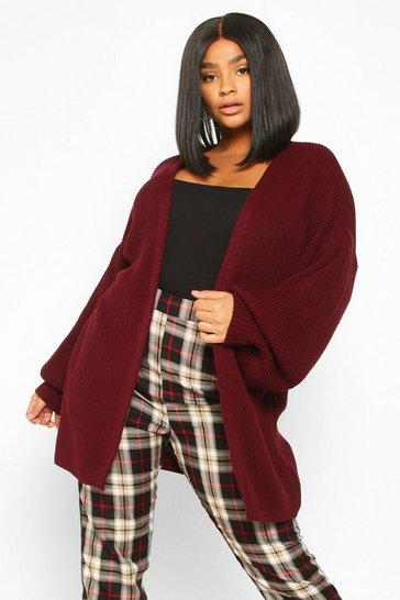 Womens Burgundy Plus Bell Sleeve Knitted Cardigan
