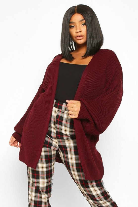 Plus Bell Sleeve Knitted Cardigan