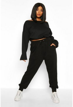 Black Plus Basic Loopback Jogger