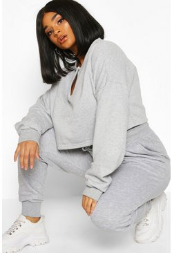 Womens Grey marl Plus Basic Loopback Jogger