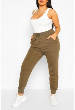 Khaki Plus Basic Loopback Jogger