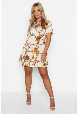 Womens Ivory Plus Floral Chain Cap Sleeve Shift Dress