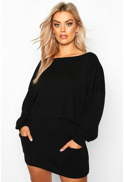 Womens Black Plus Batwing Jumper Knitted Skirt Co-Ord