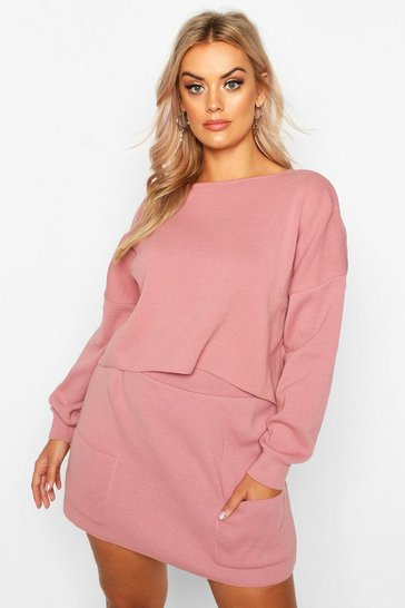 Rose Plus Batwing Jumper Knitted Skirt Co-Ord