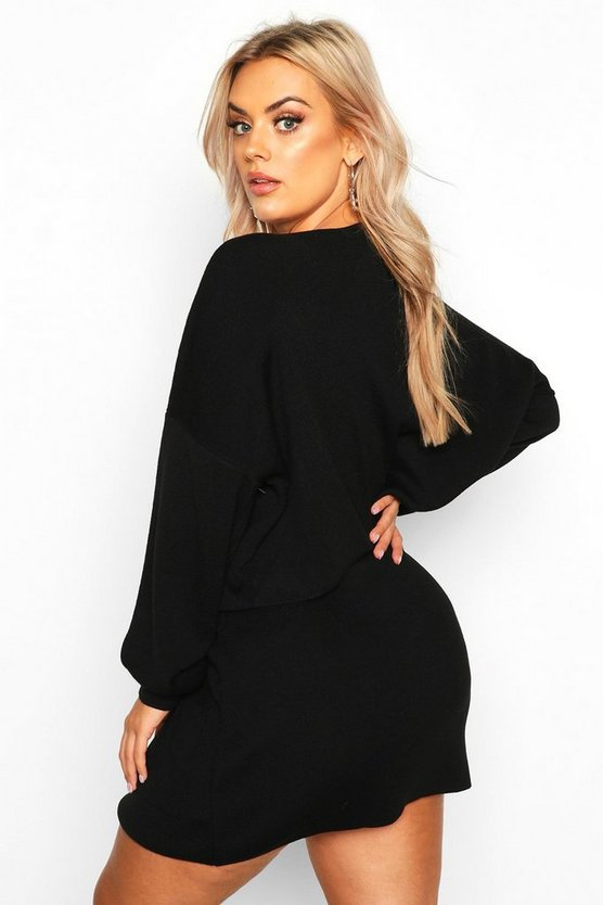 Plus Batwing Jumper Knitted Skirt Co-Ord