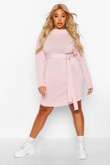 Womens Blush Plus Belted Slouchy Jumper Dress
