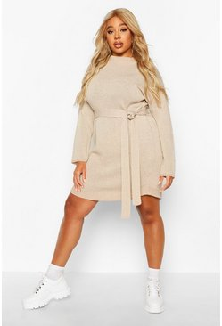 Stone Plus Belted Slouchy Sweater Dress