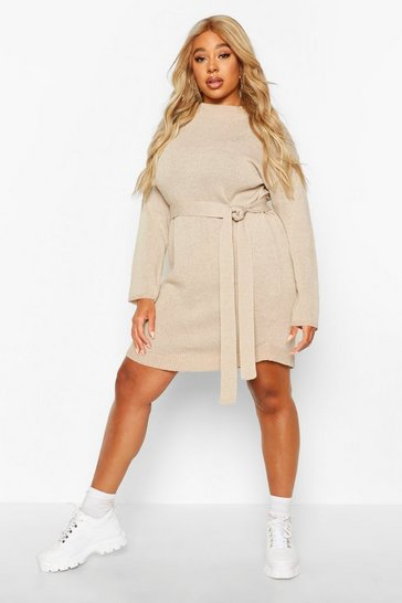 Womens Stone Plus Belted Slouchy Jumper Dress