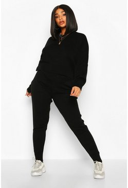 Black Plus Crew Neck Slouchy Knitted Lounge Set