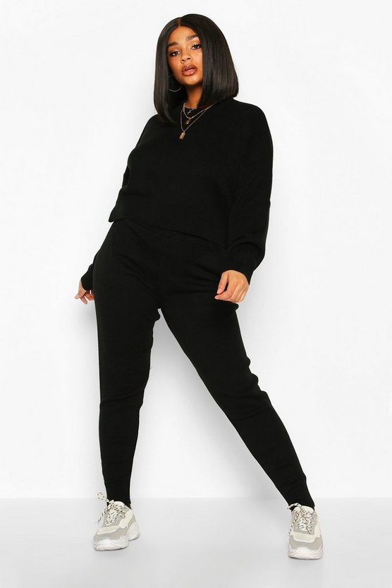 Plus Crew Neck Slouchy Knitted Lounge Set