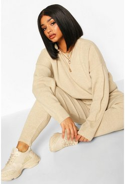 Womens Stone Plus Crew Neck Slouchy Knitted Lounge Set