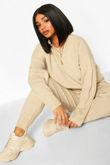 Stone Plus Crew Neck Slouchy Knitted Lounge Set