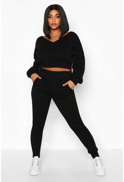 Womens Black Plus Cropped V Neck Knitted Lounge Set