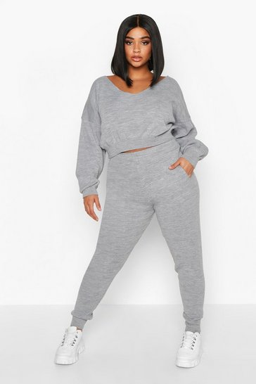 Womens Grey Plus Cropped V Neck Knitted Lounge Set
